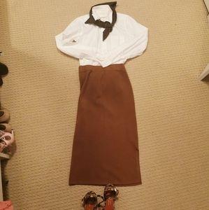 Brown Knit Midi Skirt